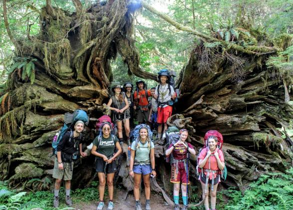 Students smiling in front of massive tree roots