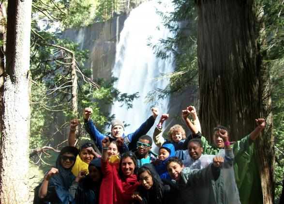 Mary and a group of Longfellow Middle School students in Yosemite.