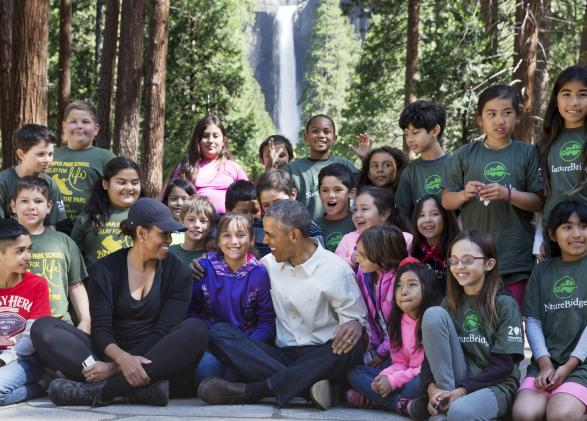 President Barack Obama and First Lady Michelle Obama with NatureBridge students