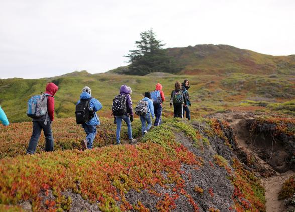 NatureBridge students hiking in the Golden Gate National Recreation Area