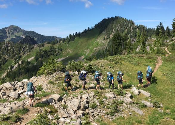 Students backpack through Olympic National Park