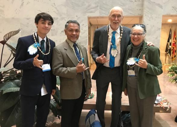Noah Sary visits with legislators