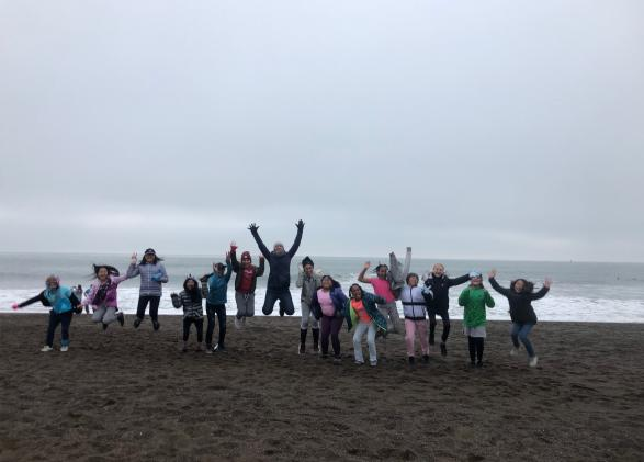 Amber and her students at Rodeo Beach