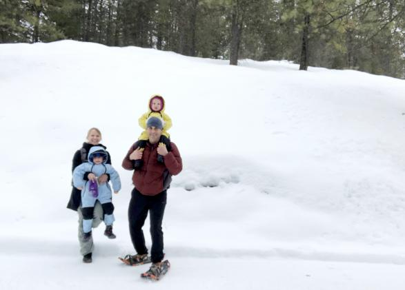 Michael Doyle and his family on a snowshoeing trip.