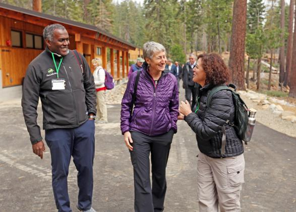 Sally Jewell and Steve Lockhart at the National Environmental Science Center in Yosemite National Park