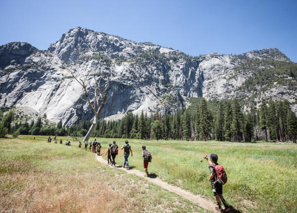 Students and families enjoying a hike in Yosemite Valley