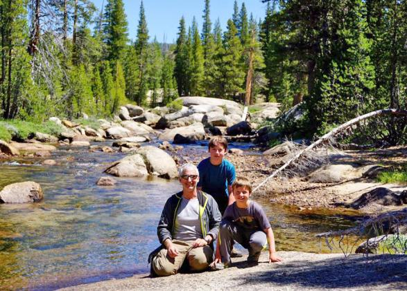 Chris Joseph with his two sons in Yosemite