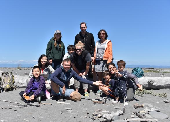 Families exploring the Olympic coast