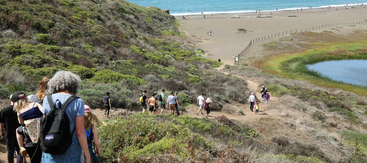 Families enjoy a hike in the Marin Headlands