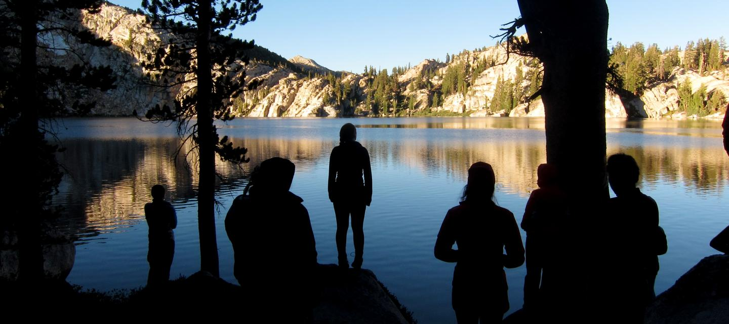 Students look at a lake in Yosemite