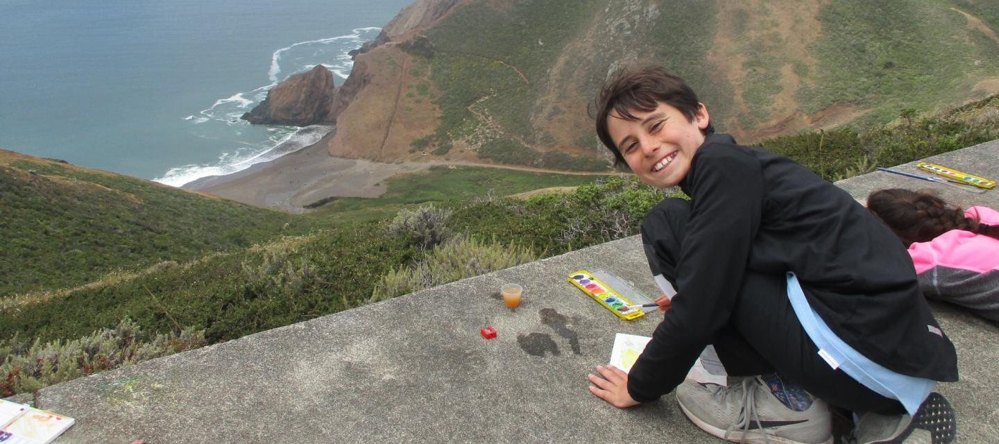 Art projects and water coloring while overlooking beautiful ocean views