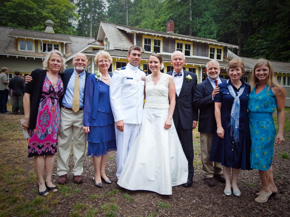 Newly married couple and wedding guests at NatureBridge Olympic