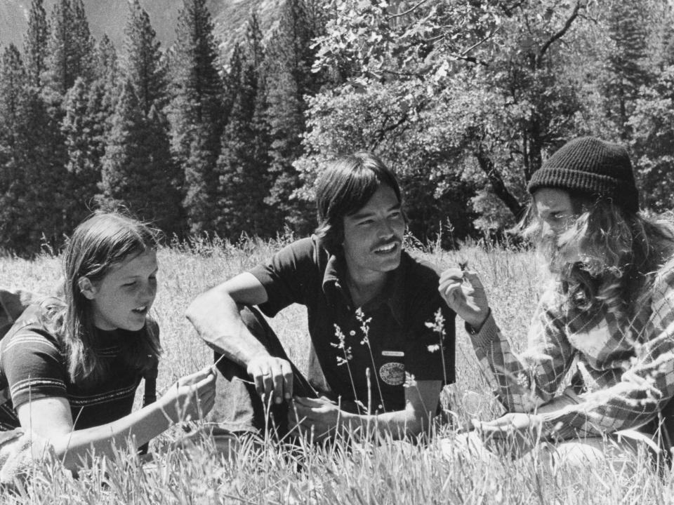 NatureBridge students in the Yosemite Valley with their educator in 1971.