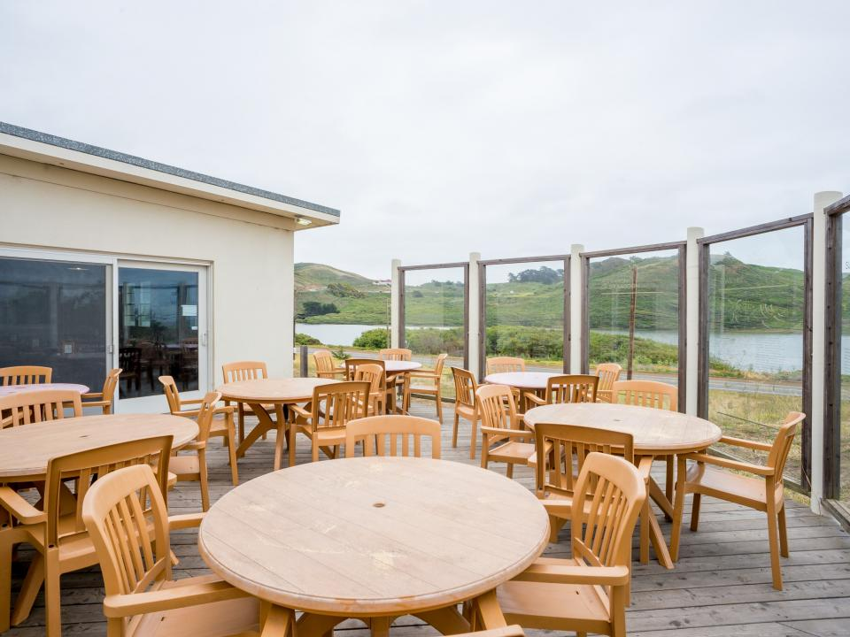 overlooking Rodeo Lagoon from the outdoor dining patio