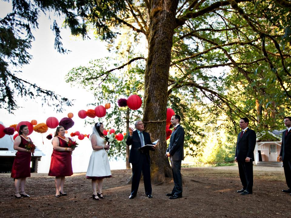 Wedding celebration at NatureBridge's Olympic National Park campus