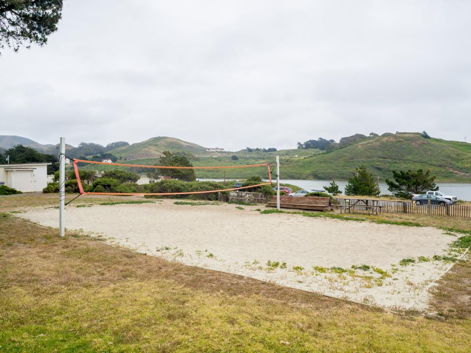 Volleyball court and recreation area at NatureBridge Golden Gate