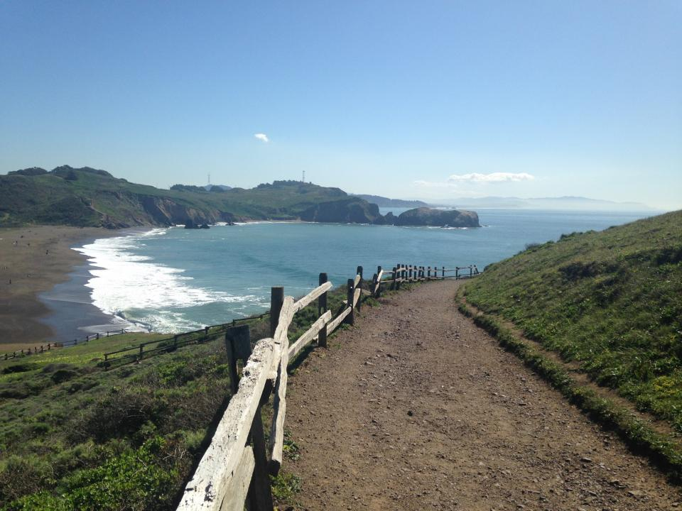 overlooking Rodeo Beach and the Pacific Ocean