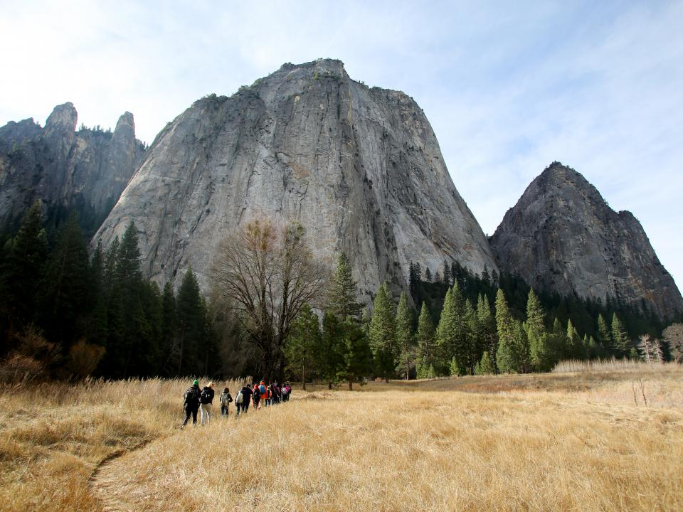 Students enjoying a hike in Yosemite Valley
