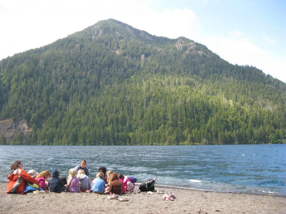Family program activities on the shores of Lake Crescent