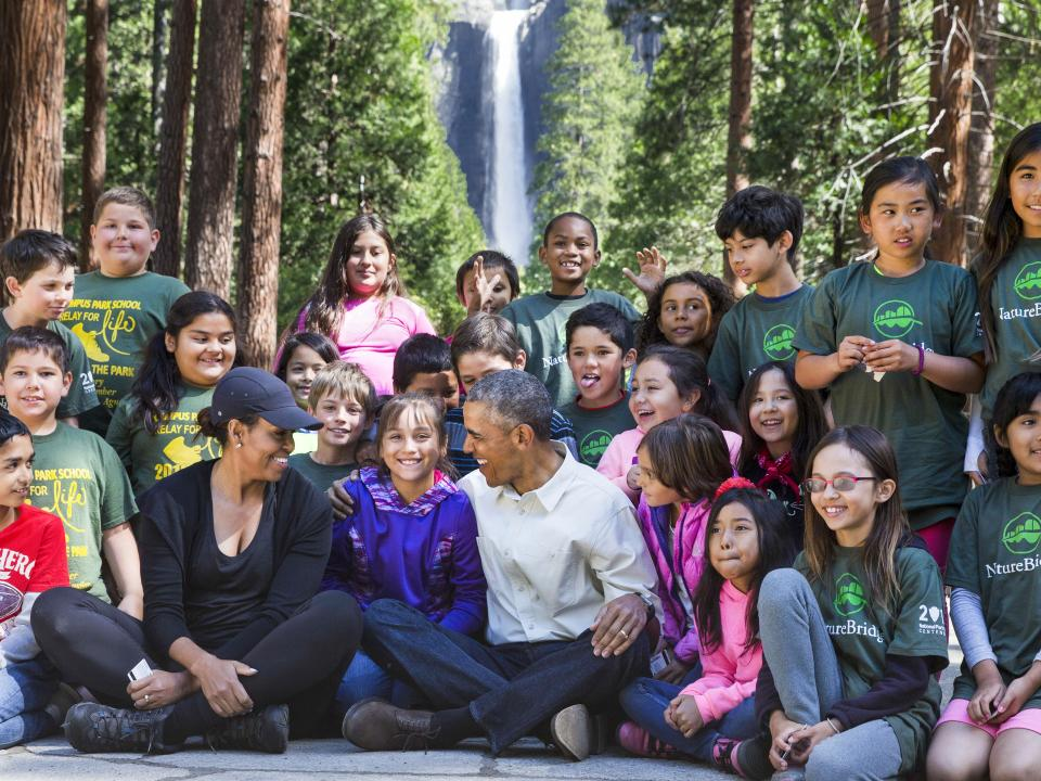 students with the Obama family at Yosemite National Park
