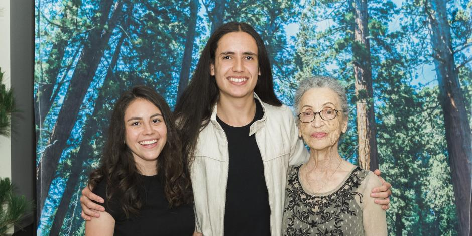 2018 Student of the Year Marisa Granados with keynote speakers Xiuhtezcatl Martinez and Betty Reid Soskin.