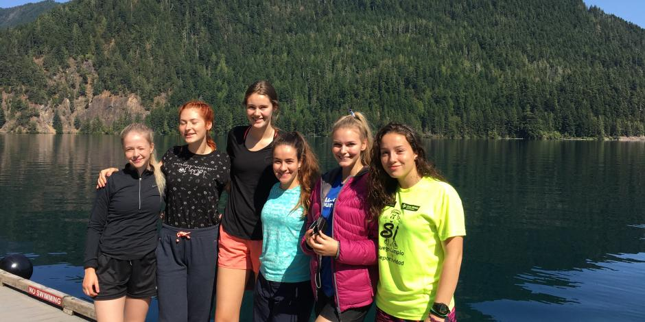 Some of the Alcoa Scholars in front of Lake Crescent.