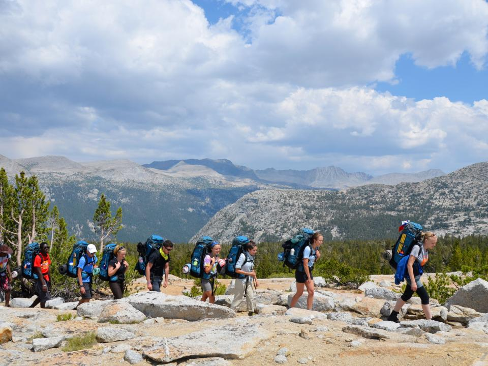 Students backpacking in Yosemite