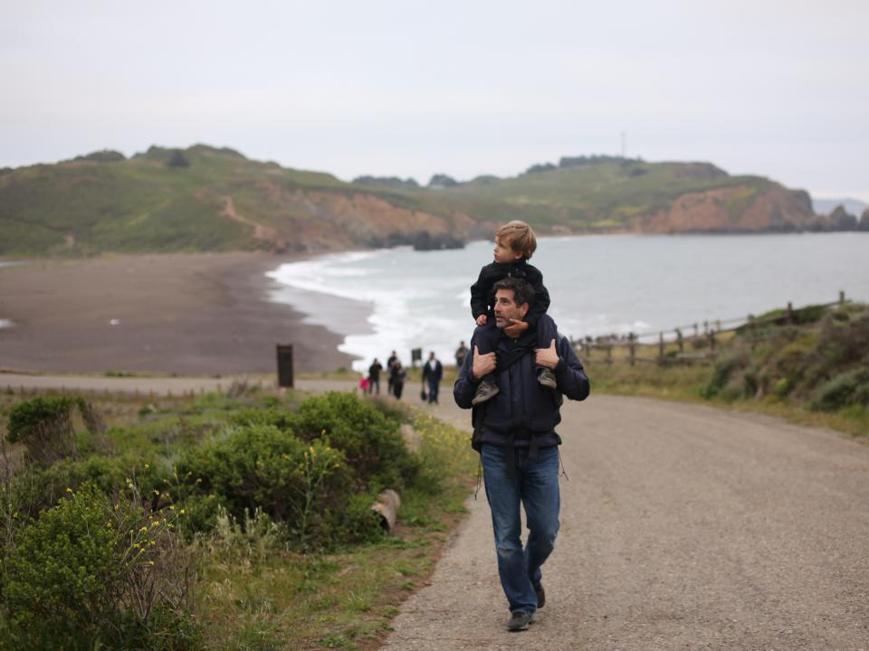 Families hike in the Marin Headlands