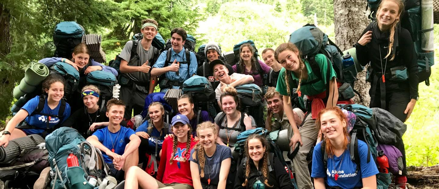 The Alcoa Scholars in the backcountry of Olympic National Park.