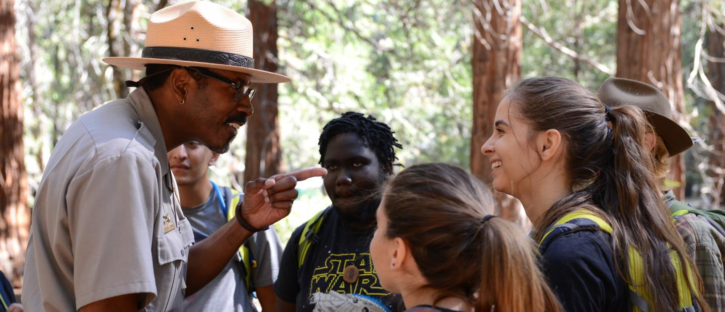 NPS Ranger Shelton Johnson with NatureBridge students.