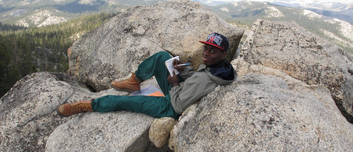 student journaling in Yosemite National Park