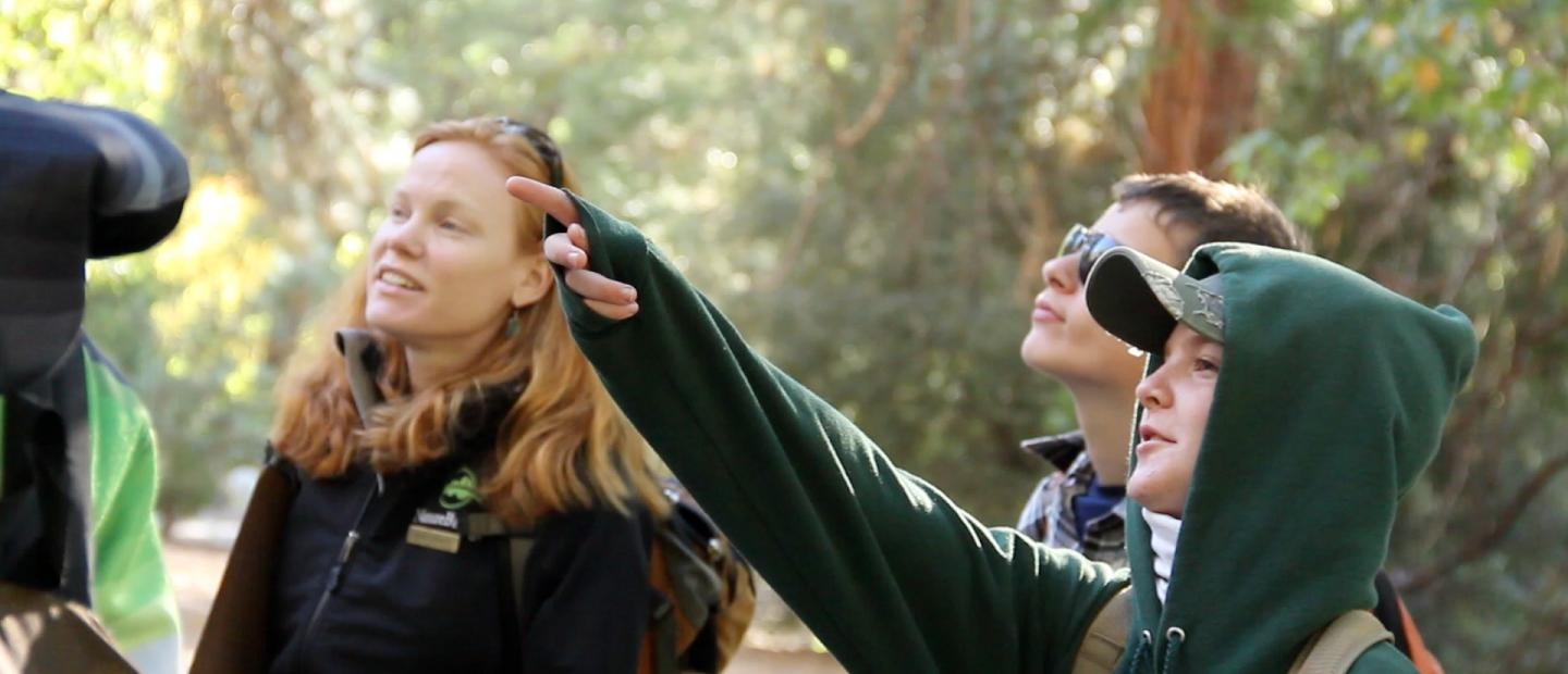 Students in Yosemite observe the local ecosystem