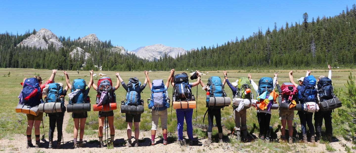 The Armstrong Scholars stand hand-in-hand looking at the Yosemite wilderness.