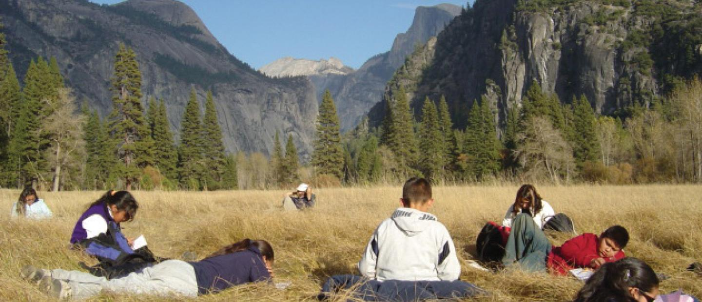 students sit in Yosemite Valley